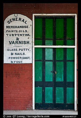 Door and wall, old general store. Genoa, Nevada, USA (color)