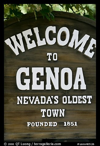 Nevada oldest town sign. Genoa, Nevada, USA (color)