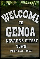 Nevada oldest town sign. Genoa, Nevada, USA ( color)