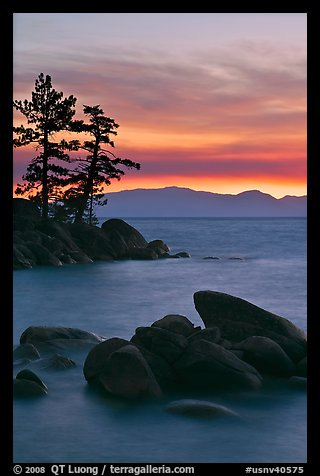 Boulders and trees, sunset, Sand Harbor, East Shore, Lake Tahoe, Nevada. USA (color)