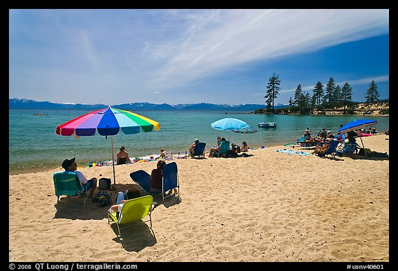 Sandy beach on East shore, Lake Tahoe-Nevada State Park, Nevada. USA (color)