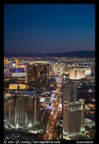 Las Vegas Boulevard and casinos seen from above at sunset. Las Vegas, Nevada, USA (color)