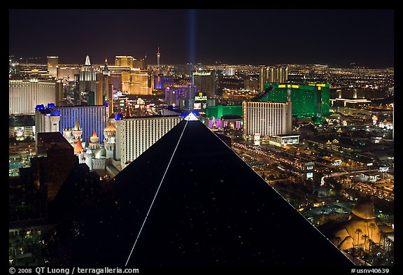Luxor pyramid and Las Vegas skyline at night. Las Vegas, Nevada, USA (color)