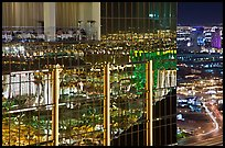 Dining room and night reflections, the Hotel at Mandalay Bay. Las Vegas, Nevada, USA (color)