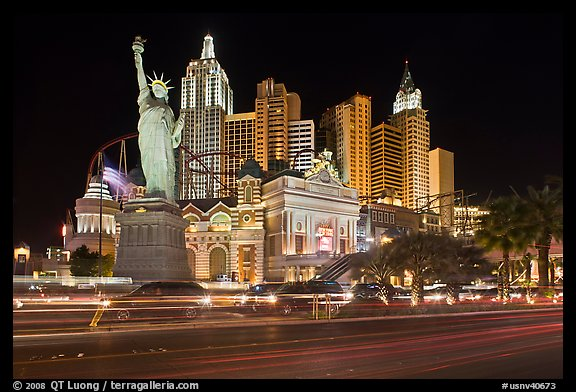 Las Vegas Boulevard and  New York New York casino at night. Las Vegas, Nevada, USA (color)
