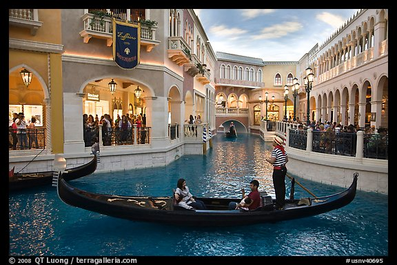 Family gondola ride inside Venetian casino. Las Vegas, Nevada, USA (color)