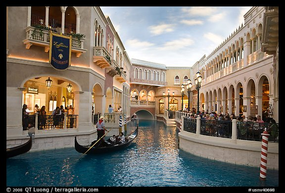 Grand Canal and shops inside Venetian hotel. Las Vegas, Nevada, USA (color)