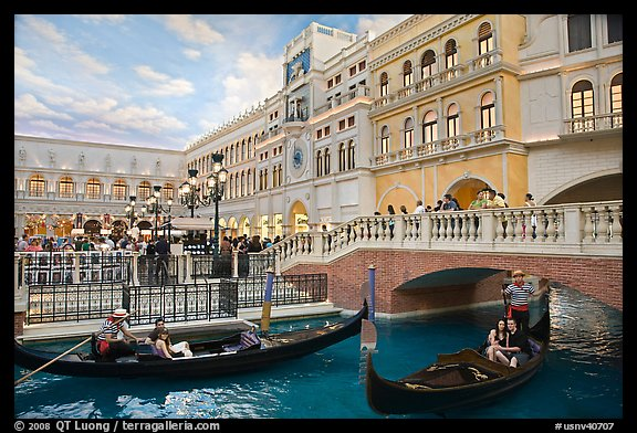 Gondolas and Saint Mark Square inside Venetian hotel. Las Vegas, Nevada, USA (color)
