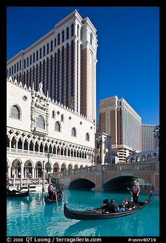 Gonodla and Venetian casino. Las Vegas, Nevada, USA (color)