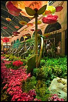 Giant watering cans in indoor garden, Bellagio Hotel. Las Vegas, Nevada, USA (color)