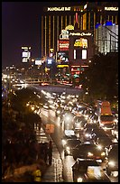 Congested traffic on Las Vegas Boulevard on Saturday night. Las Vegas, Nevada, USA