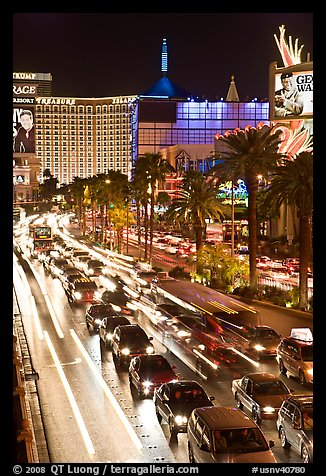 Las Vegas Strip traffic by night. Las Vegas, Nevada, USA (color)