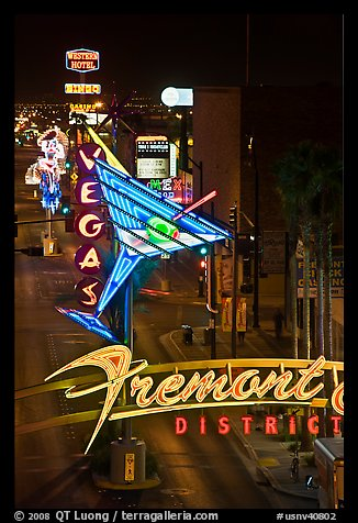 Neon lights in East Fremont district. Las Vegas, Nevada, USA (color)