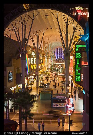 Fremont street canopy, downtown. Las Vegas, Nevada, USA (color)