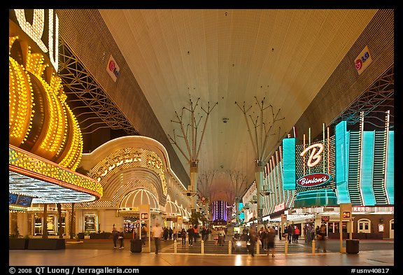 Pedestrian, canopy-covered section of Fremont Street. Las Vegas, Nevada, USA (color)