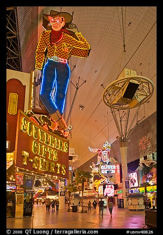 Fremont Street and intricate neon sights. Las Vegas, Nevada, USA (color)