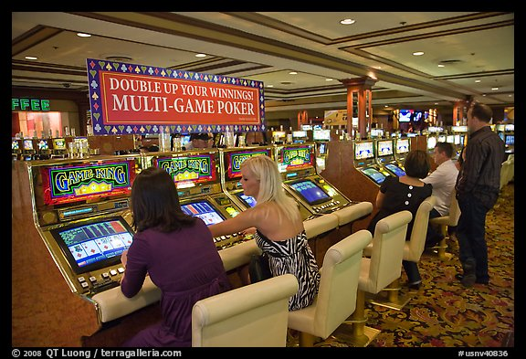 Gambling with gaming  machines. Las Vegas, Nevada, USA (color)