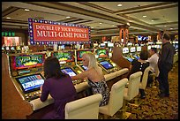 Gambling with gaming  machines. Las Vegas, Nevada, USA ( color)