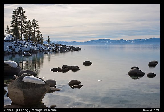 Shoreline in winter,  Sand Harbor, East Shore, Lake Tahoe, Nevada. USA (color)