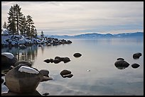 Shoreline in winter,  Sand Harbor, East Shore, Lake Tahoe, Nevada. USA