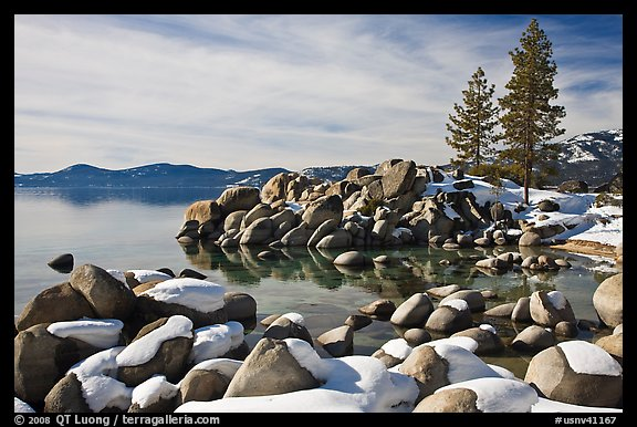 Snow and boulders on shore, Sand Harbor, Lake Tahoe-Nevada State Park, Nevada. USA (color)
