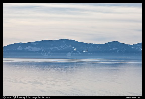 Distant mountains on lake rim in winter, Lake Tahoe, Nevada. USA (color)