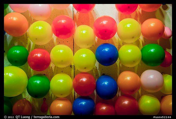 Rows of ballons, Circus Circus. Reno, Nevada, USA (color)
