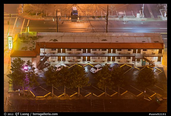 Motel from above on rainy night. Reno, Nevada, USA (color)