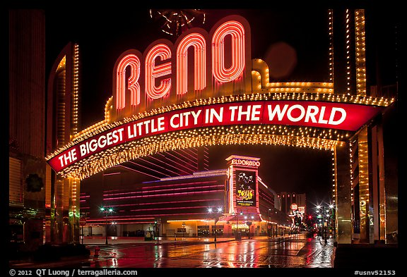 Biggest little city in the world sign by night. Reno, Nevada, USA (color)
