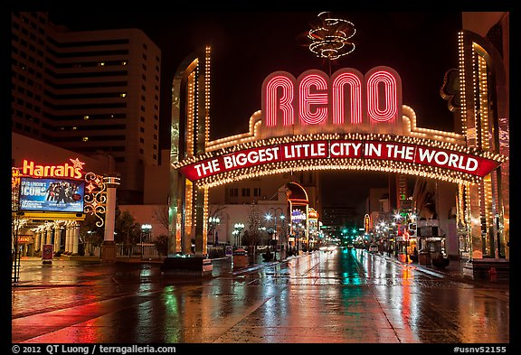 Biggest little city in the world sign and reflections. Reno, Nevada, USA (color)