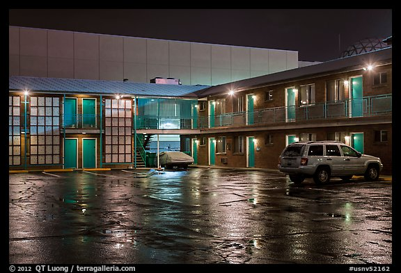Motel on rainy night. Reno, Nevada, USA (color)