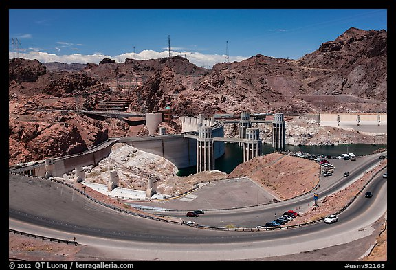 Dam with US 93 route traffic prior to bypass. Hoover Dam, Nevada and Arizona (color)