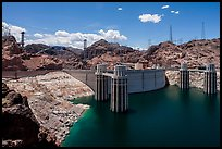 Reservoir and dam, Hoover Dam Bypass beeing built. Hoover Dam, Nevada and Arizona ( color)