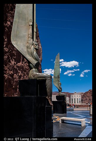 30 feet high bronze figures. Hoover Dam, Nevada and Arizona (color)