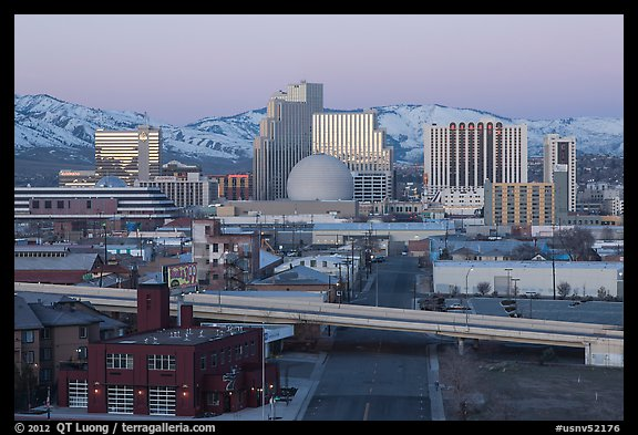 Winter dawn over downtown buildings. Reno, Nevada, USA (color)