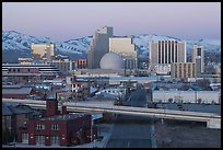 Winter dawn over downtown buildings. Reno, Nevada, USA ( color)