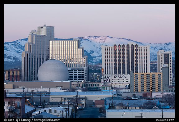 Reno skyline at sunrise in winter. Reno, Nevada, USA (color)
