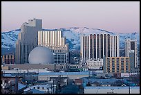 Reno skyline at sunrise in winter. Reno, Nevada, USA ( color)