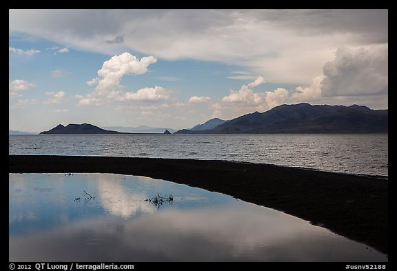 Reflection in pool. Pyramid Lake, Nevada, USA (color)