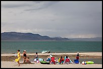 Lakeshore beach recreation, approaching storm. Pyramid Lake, Nevada, USA ( color)