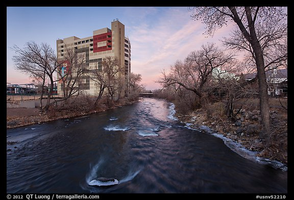 Truckee river, winter sunset. Reno, Nevada, USA (color)