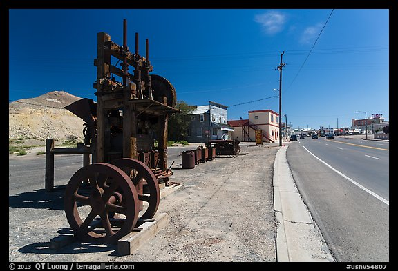 Historic mining equipement lining main street. Nevada, USA