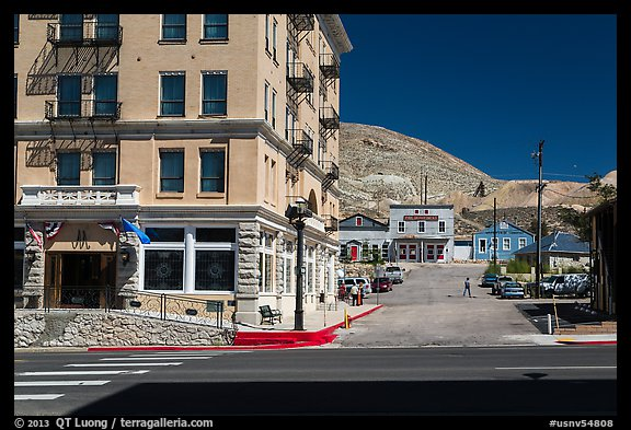 Mizpah hotel and main street. Nevada, USA (color)