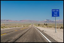 Highway and Next Gas 163 miles sign. Nevada, USA ( color)