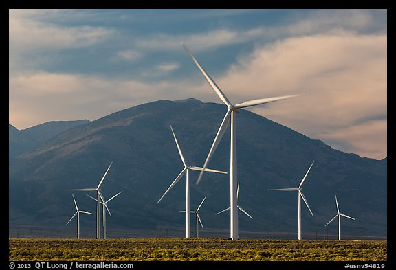 Electricity-generating windmills. Nevada, USA (color)