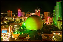 Skyline with Silver Legacy dome at night. Reno, Nevada, USA ( color)