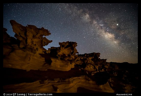Little Finland and Milky Way at night. Gold Butte National Monument, Nevada, USA (color)
