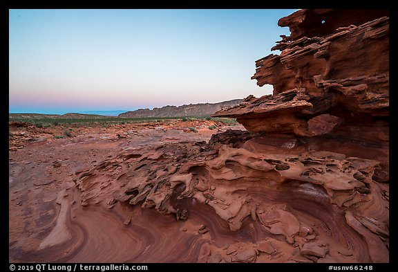 Weathered sandstone formations at dawn, Little Finland. Gold Butte National Monument, Nevada, USA (color)