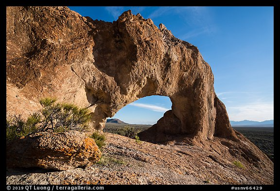 Natural arch through volcanic rock. Basin And Range National Monument, Nevada, USA (color)