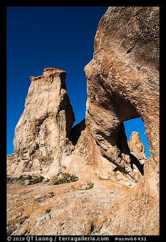 Natural arch and rock towers. Basin And Range National Monument, Nevada, USA (color)